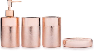 Textured Rose Gold Ceramic Bathroom Set