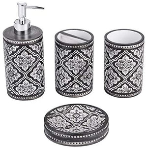 White And Chocolate Bathroom Accessory Set