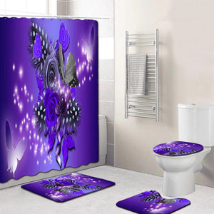 5 piece purple and black butterfly shower curtain set, which includes:  water proof shower curtain and rings, toilet mat, toilet seat cover and regular mat.  Non slip and non mold.