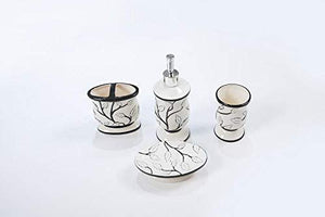 White Leaves and Black Branches Bathroom Accessory Set
