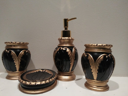 4 Piece Black with Gold Bathroom Accessory Set Including Tumbler, Toothbrush Holder, Soap Dish and Lotion Dispenser