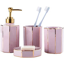 Load image into Gallery viewer, Emerald Green or Pink Octagon Shaped Bathroom Accessory Set