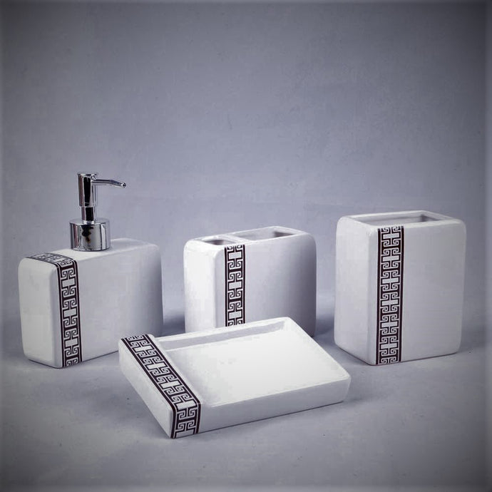 Black and White Bathroom Accessory Set