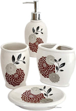 "Load image into Gallery viewer, 4pc Bathroom Accessory Set in Durable Ceramic; Reversible Design in Pink or Red; Includes: Tumbler & Toothbrush Holder & Soap Dish & Lotion Pump; Floral Pattern on White Background ; Approximate Size: Pump: 8"" x 3"" x 3"" - Tumbler: 4 1/2"" x 3"" x 3"" - Toothbrush Holder: 4 1/4"" x 4 1/55"" x 2 1/4"" - Soap Dish: 5 1/55"" x 4"" x 1"""