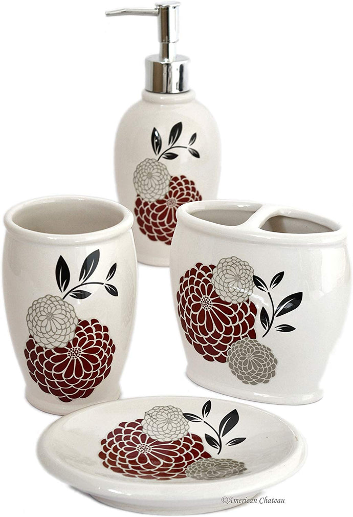 4pc Bathroom Accessory Set in Durable Ceramic; Reversible Design in Pink or Red; Includes: Tumbler & Toothbrush Holder & Soap Dish & Lotion Pump; Floral Pattern on White Background ; Approximate Size: Pump: 8