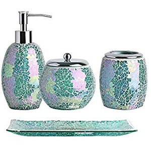 4pc Mosaic Glass Bathroom Accessory Set which, includes:Lotion Dispenser, Toothbrush Holder, Cotton Jar and Vanity Tray.  Handmade Crackle Mosaic Glass in Modern and iridescent Green Color.