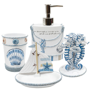 Blue and White Bathroom Accessory Set