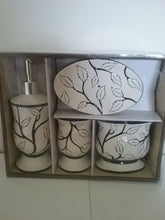 Load image into Gallery viewer, White Leaves and Black Branches Bathroom Accessory Set