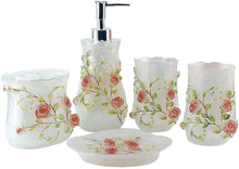 Load image into Gallery viewer, 5 Piece 3D Resin Pink Roses Bathroom Accessories Set, which includes:  Lotion Dispense, Toothbrush Holder, Two Tumblers and Soap Dish