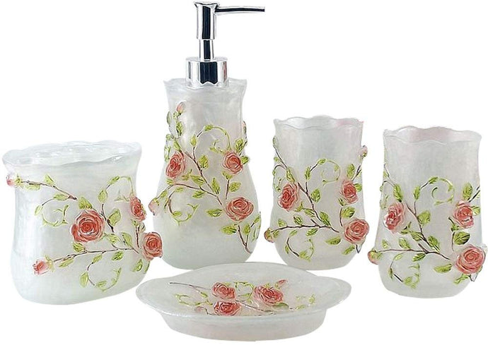 5 Piece 3D Resin Pink Roses Bathroom Accessories Set, which includes:  Lotion Dispense, Toothbrush Holder, Two Tumblers and Soap Dish