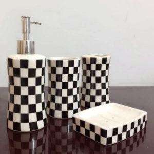 Black and White Check Bathroom Accessory Set - watson-bathroom-accessories