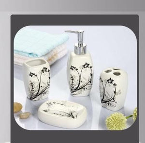 Off White and Black Bathroom Accessory Set