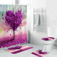 5 piece Pink Heart Shaped Tree Shower Curtain Set, which includes: water proof shower curtain and rings, toilet mat, toilet seat cover and regular mat. Non slip and non mold. Wash by hand with mild soap.