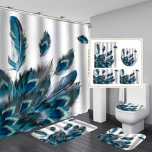 Load image into Gallery viewer, Blue Peacock Shower Curtain Bathroom Accessory Set