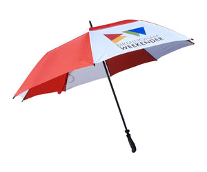 Troon Double Canopy Vented Umbrella printed on white panels. As low as £9.49 each.