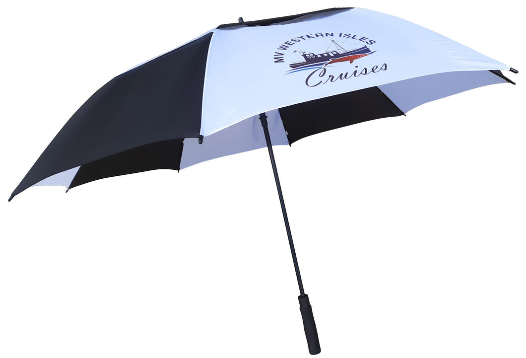 Premier Automatic Opening Double Canopy Vented Umbrella printed on white panels. As low as £11.49 each.