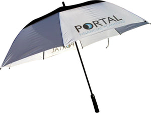 Gleneagles Automatic  Double Canopy Vented  Umbrella printed full colour on white panels.. As low as  £14.49 each.