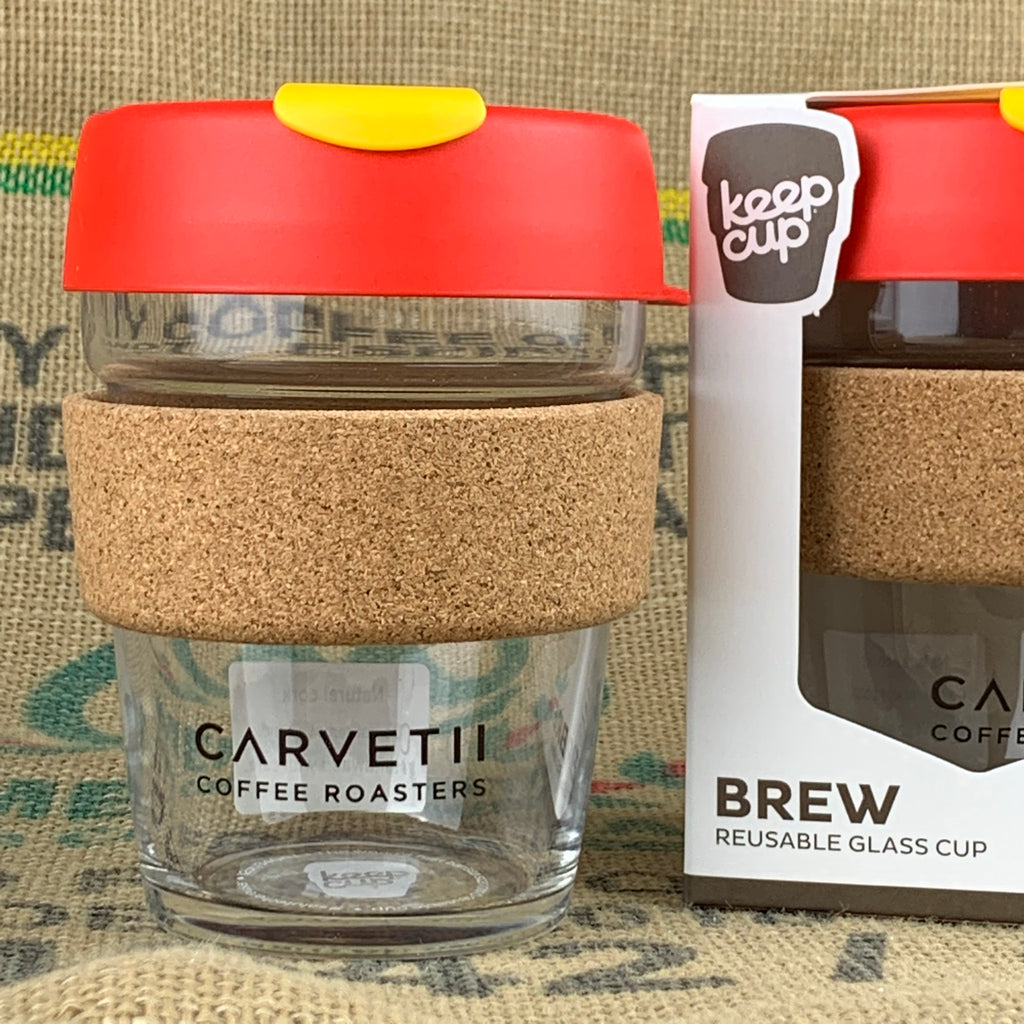 Carvetii Branded 12oz Brew Cork KeepCup Tomato Red