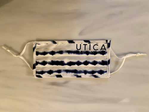 Utica blue and white mask