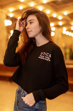 Load image into Gallery viewer, Woman's Black Utica Fleece Raw-hem Cropped Crewneck