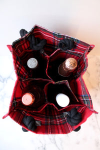 Plaid Holiday Drink Tote (4 bottles)