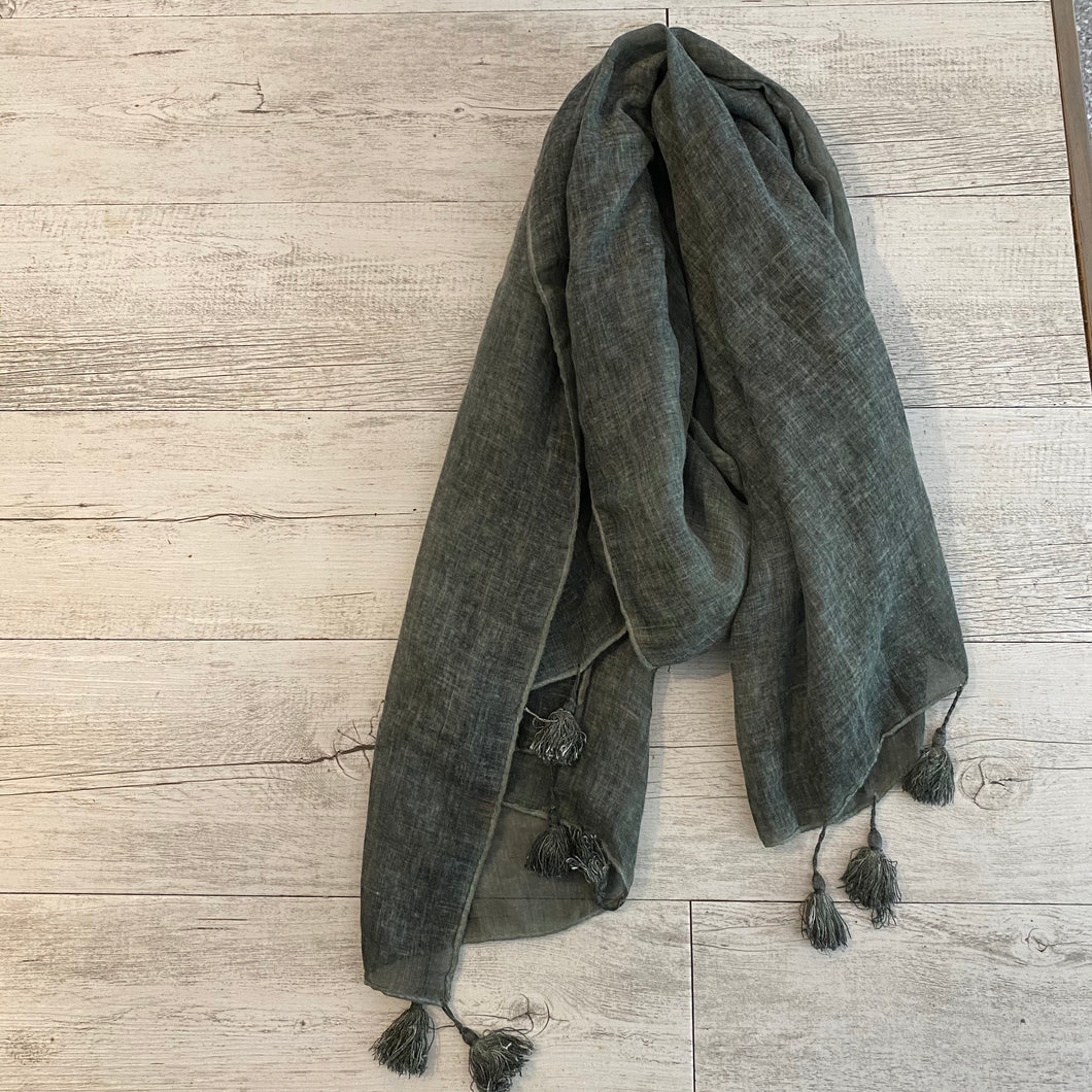 Khaki Scarf with tassels