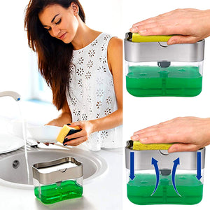 2 in 1 DishWashing Liquid Dispenser - Buy 1 Take 1 + FREE 4 Sponges