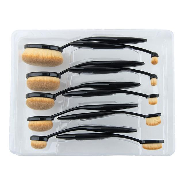10 PIECES PROFESSIONAL OVAL BRUSH SET