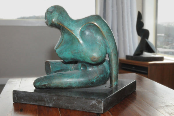 Agony on coffee table - Bronze sculpture by Stephen Williams