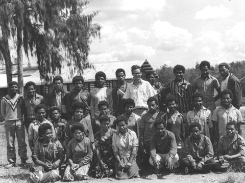 1987 - Stephen Williams with his class at Koroba High School, PNG