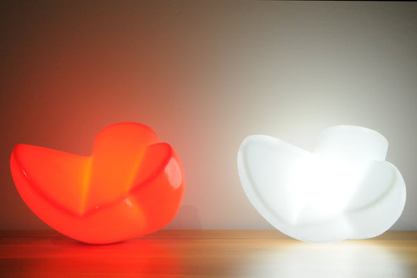 Twist – Red and white polyethylene lamp sculpture by Stephen Williams