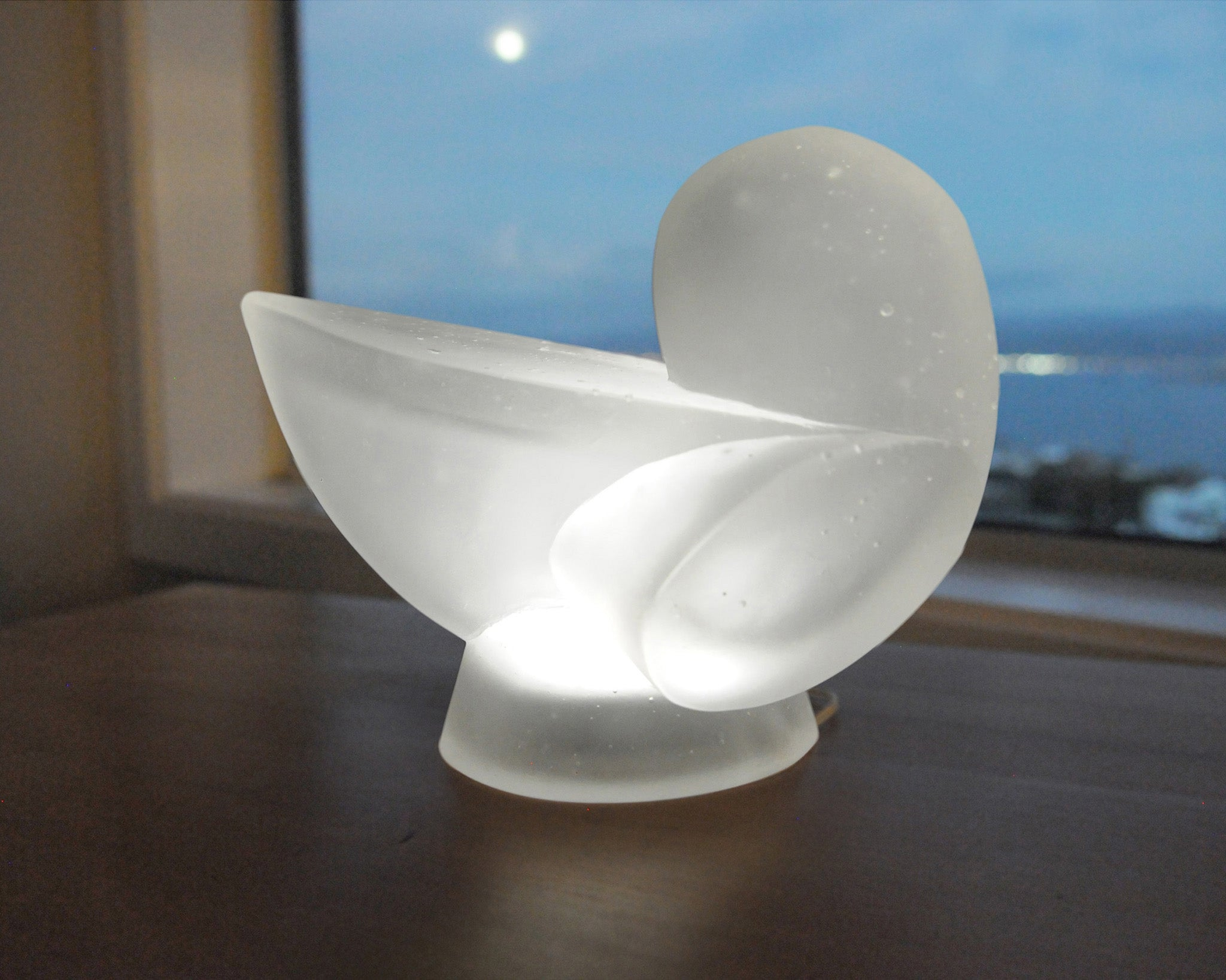 Abstract cast glass sculpture lamp with internal light for sale by Stephen Williams.