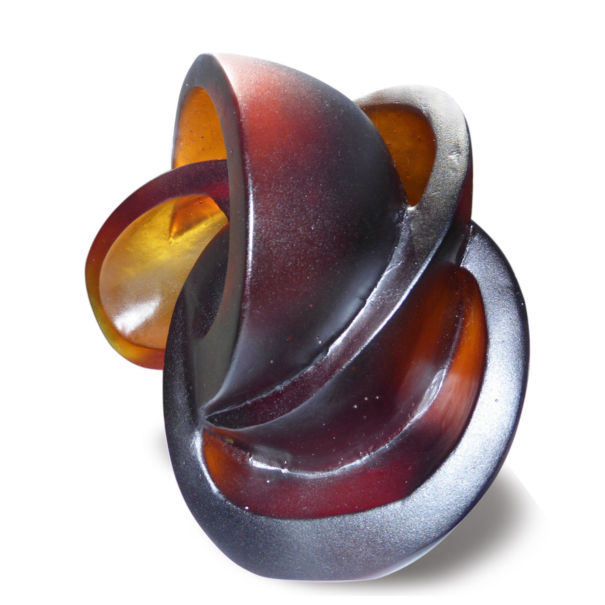Abstract cast glass sculpture of the atom by Stephen Williams.