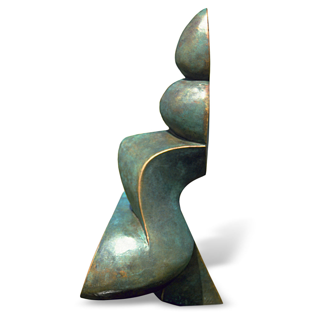 Abstract geometric bronze sculpture for sale by Stephen Williams.