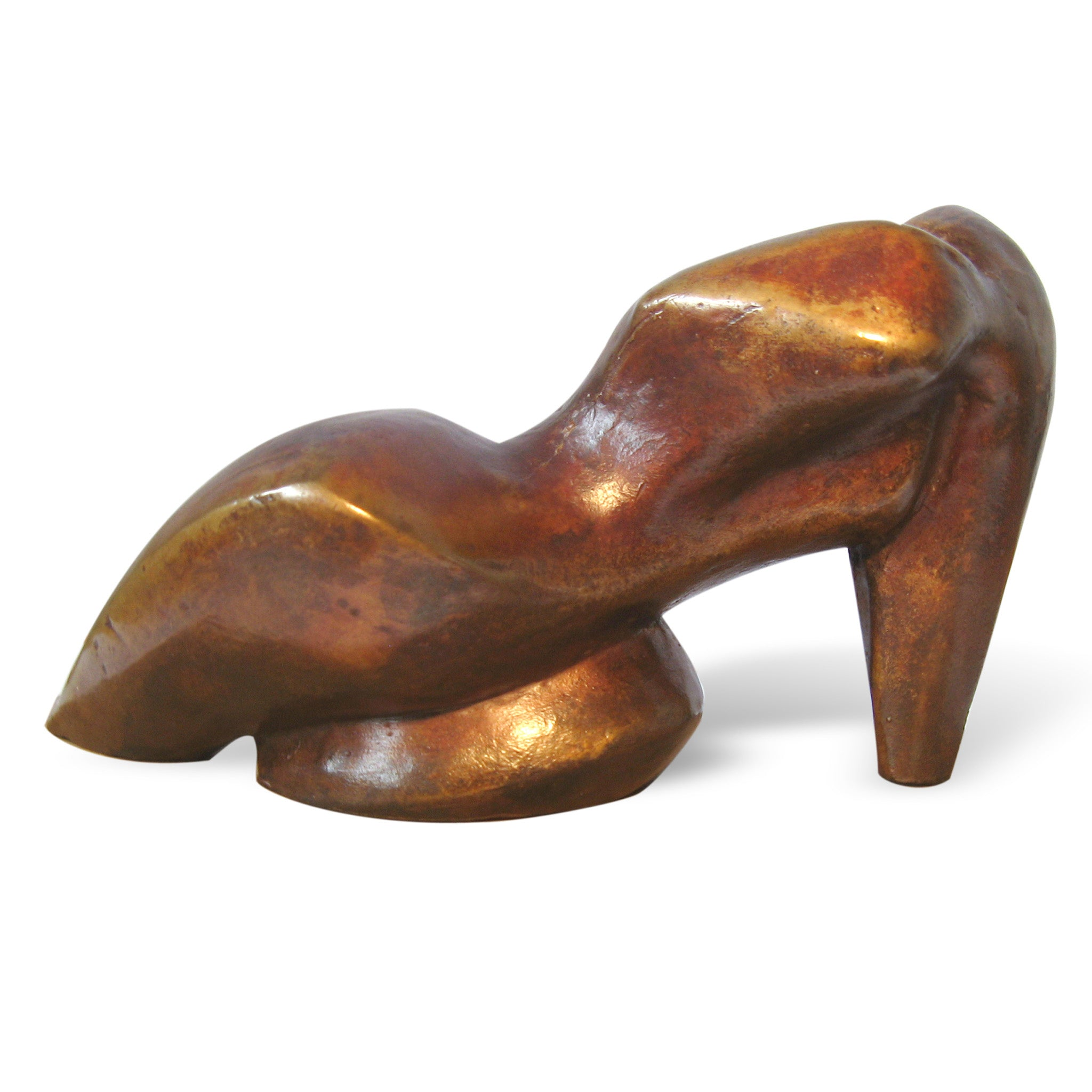 Reclining abstract female figurative bronze sculpture by Stephen Williams.