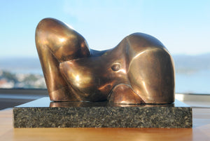Reclining figure cubist bronze sculpture for sale by Stephen Williams | New Zealand.