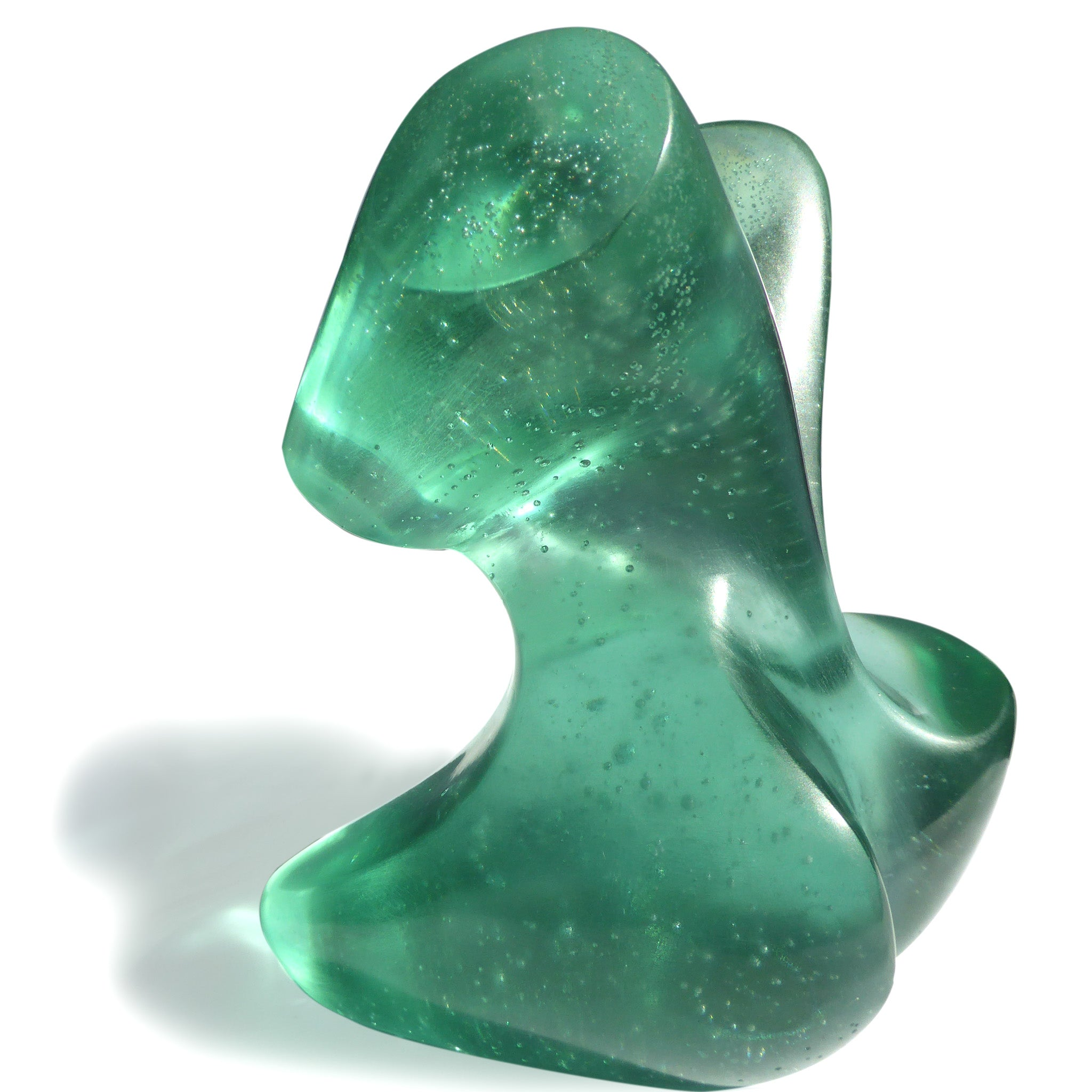 Abstract female figurative cast glass sculpture by Stephen Williams.