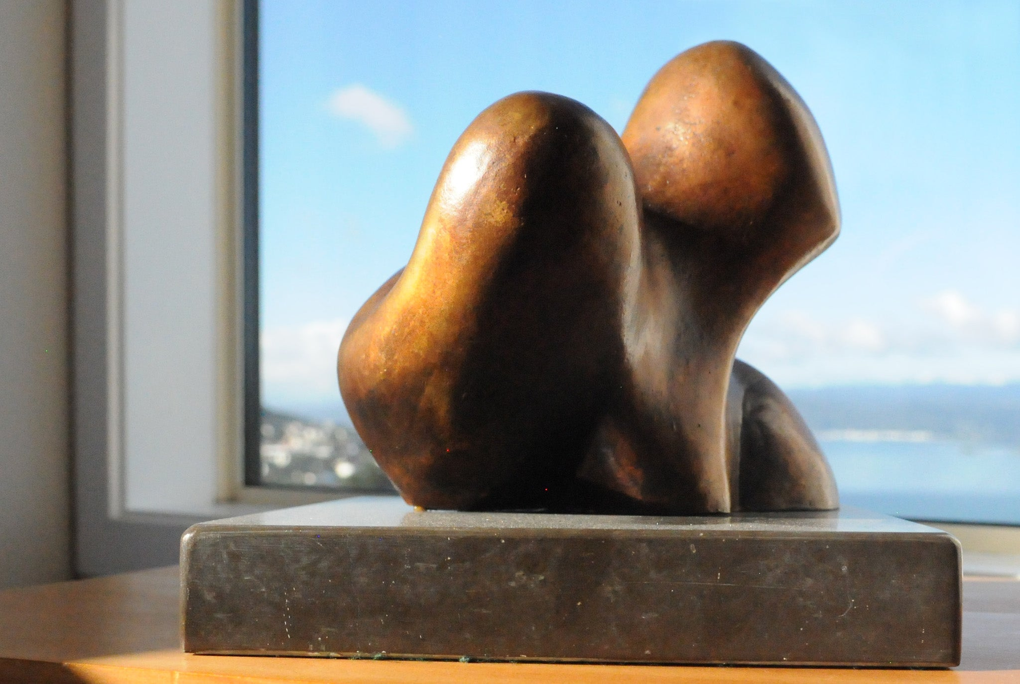 Abstract biomorphic bronze sculpture by Stephen Williams.