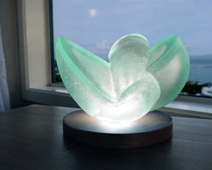 Abstract minimalist cast glass sculpture with light for sale by Stephen Williams.