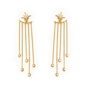 1 Pair Fashion Women Stylish Gold/ Silver Color Star Earrings - Earrings