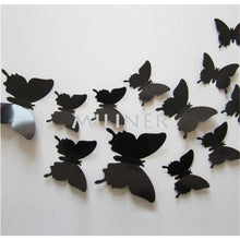 Load image into Gallery viewer, 12pcs Butterflies 3D wall decor stickers - light black