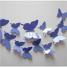 Load image into Gallery viewer, 12pcs Butterflies 3D wall decor stickers - light purple blue