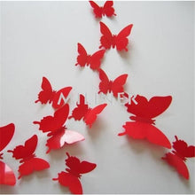 Load image into Gallery viewer, 12pcs Butterflies 3D wall decor stickers - light red