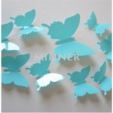 Load image into Gallery viewer, 12pcs Butterflies 3D wall decor stickers - light sky blue