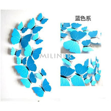 Load image into Gallery viewer, 12pcs Butterflies 3D wall decor stickers - pure blue