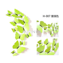 Load image into Gallery viewer, 12pcs Butterflies 3D wall decor stickers - pure green