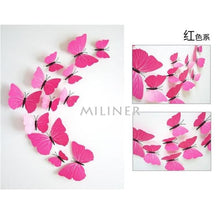 Load image into Gallery viewer, 12pcs Butterflies 3D wall decor stickers - pure rose red