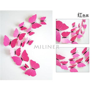 12pcs Butterflies 3D wall decor stickers - pure rose red