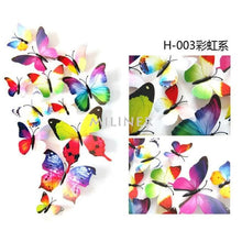 Load image into Gallery viewer, 12pcs Butterflies 3D wall decor stickers - rainbow