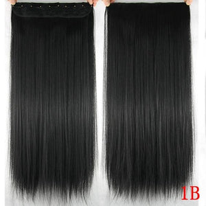 60 cm Long Straight Clip in Hair Extensions Synthetic Hair Piece - #1B / 24inches